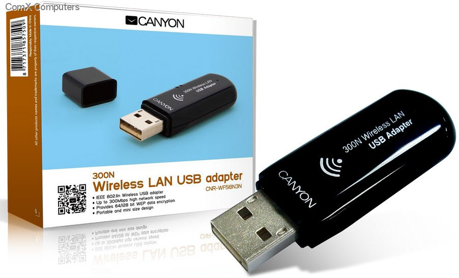 CNP-WFN3 Canyon Wireless Adapter USB - Mbps IEEE b/IEEE g Black